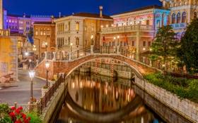 Картинка ночь, огни, дома, Япония, Токио, Венеция, канал