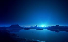 Обои небо, синий свет, море