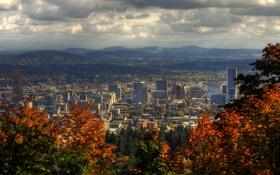 Картинка США, облака, пейзаж, Portland, деревья, дома, горы