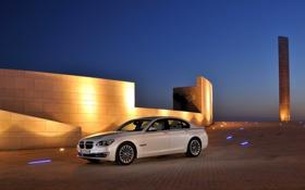 Обои Небо, Вечер, Авто, Белый, BMW, Седан, 7 Series