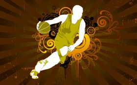 Обои баскетбол, силуэт, узор, мяч, вектор