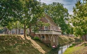 Картинка деревья, дом, лодка, канал