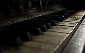 Картинка пианино, клавиши, старое, макро