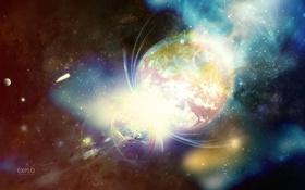 Картинка цвета, космос, звезды, фон, обои, планеты, вспышки