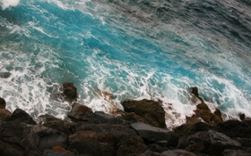 Картинка камни, побережье, водопад, океан, вода, волна, скала
