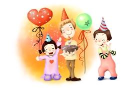 Обои шарики, радость, дети, детство, праздник, рисунок, торт