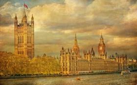 Картинка небо, река, часы, Англия, Лондон, башня, Темза