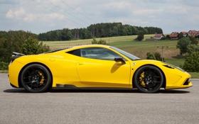 Обои жёлтый, профиль, ferrari, феррари, yellow, чёрные диски, 458 speciale