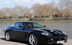 Обои маранелло, деревья, черная, Ferrari 550 Maranello, феррари 550, река