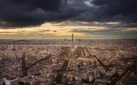 Обои небо, париж, квартал, башня, Paris, дома, улицы
