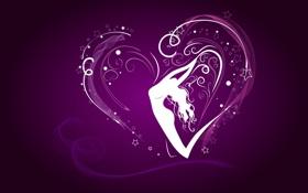 Обои сердце, девушка, поза