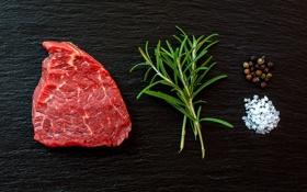 Картинка herb, steak, coarse salt, black pepper