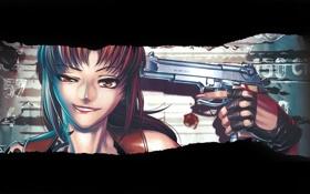 Обои пистолет, оружие, Девушка, ухмылка