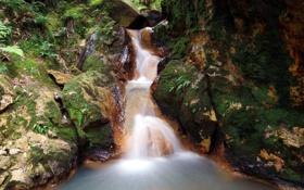 Картинка водопад, waterfall, скалы, stone