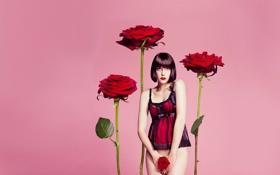 Картинка взгляд, цветы, коллаж, обои, роза, пеньюар, брюнетка