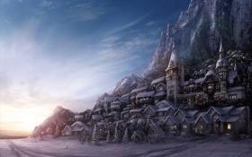 Обои зима, горы, Winter, Village, Environment