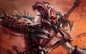 Обои брызги, оружие, фантастика, кровь, рука, маска, арт