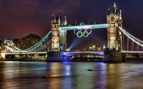 Картинка ночь, огни, Лондон, подсветка, река Темза, олимпийская символика, пять колец