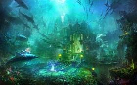 Обои девушка, дельфин, огни, Атлантида, магия, Арт, подводный мир