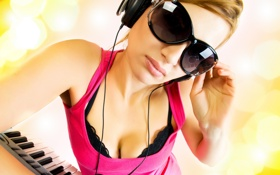 Обои music, girl, headphones