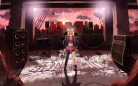 Картинка девушка, солнце, город, динамики, арт, микрофон, руины