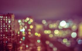 Картинка огни, город, здание, дом, боке