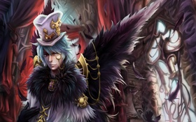 Картинка замок, крылья, шляпа, перья, арт, парень, цилиндр
