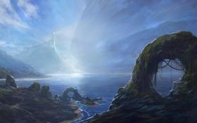 Картинка туман, озеро, скалы, маяк, гора, арт, дымка