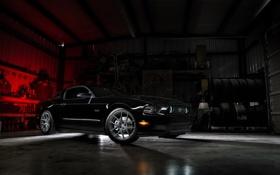 Обои свет, тень, mustang, мустанг, ford, black, форд