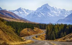 Картинка пейзаж, фото, Новая Зеландия, дорога, Cook, природа, горы