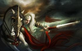 Картинка девушка, движение, конь, меч, фэнтези, арт, Kelly Perry