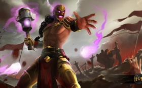 Обои смерть, бой, маска, поле битвы, Heroes of Newerth, Insanitarius Berzerker