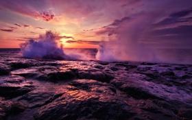 Картинка закат, камни, небо, облака, горизонт, скалы, Море