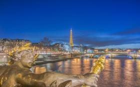 Картинка ночь, мост, огни, река, Франция, Париж, башня
