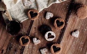 Обои сердца, печенье, сердечки, выпечка, джем, сладкое