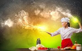 Обои девушка, креатив, магия, дым, повар, азиатка, овощи