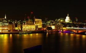 Картинка ночь, мост, огни, река, Лондон, дома, Великобритания