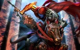 Обои арт, клинок, Darksiders Wrath of War, Игра, конь