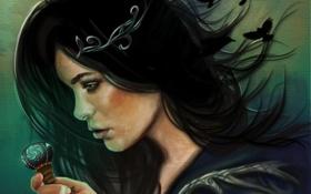 Обои девушка, волосы, ключ, вороны, профиль, черные
