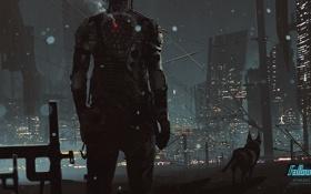Обои ночь, город, человек, собака, Fallout, art, by KuldarLeement