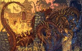 Картинка огонь, сказка, крепость, змей горыныч
