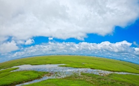 Обои трава, вода, облака, природа, фото, луг, речка
