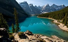 Картинка лес, горы, озеро, канада