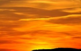 Обои закат, облака, небо, зарево