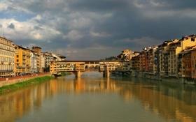 Обои город, река, Флоренция, Пейзажи, Понте Веккио