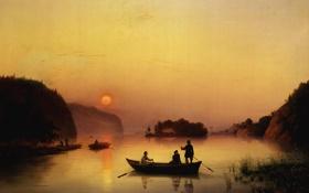 Картинка туман, река, лодка, картина, прогулка, переправа, Иванов