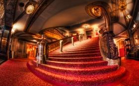 Обои свет, красное, Чикаго, красиво, лестница, поручни, Театр
