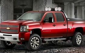 Обои Chevrolet, фары, бетон, silverado hd