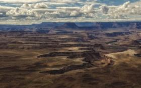 Обои облака, река, равнина, долина, hdr, каньон
