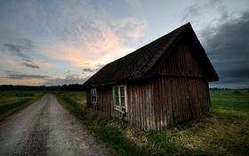 Картинка дорога, закат, дом